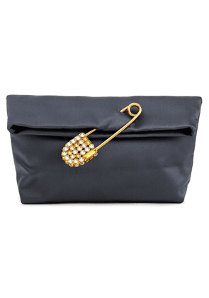 Burberry Embellished Satin Clutch Woman Slate blue Size --