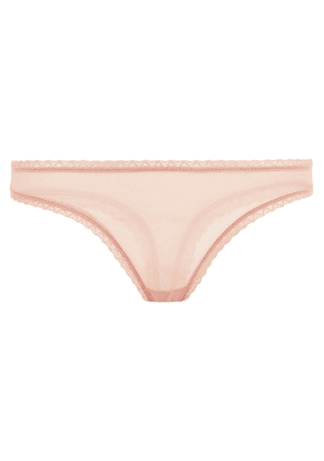Cosabella Lace-trimmed Stretch-mesh Mid-rise Thong Woman Antique rose Size M/L