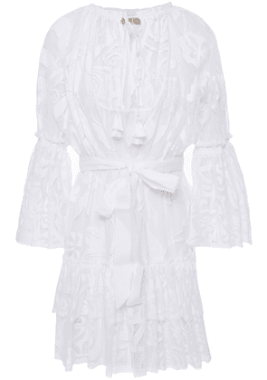 Emilio Pucci Ruffled Cotton-blend Jacquard Coverup Woman White Size 38