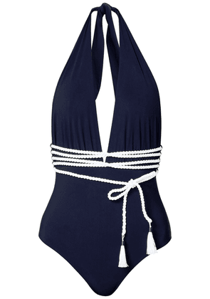 Emma Pake Belted Halterneck Swimsuit Woman Navy Size M