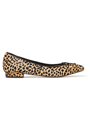 French Sole Penelope Bow-embellished Leopard-print Calf Hair Point-toe Flats Woman Animal print Size 37