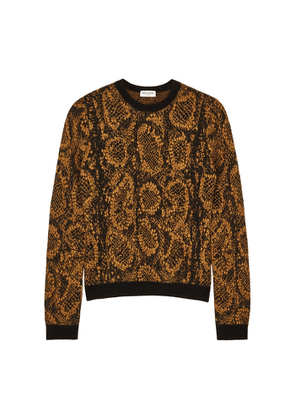 Saint Laurent Brown Snake-intarsia Knitted Jumper