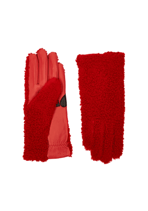AGNELLE Jency Red Shearling Gloves