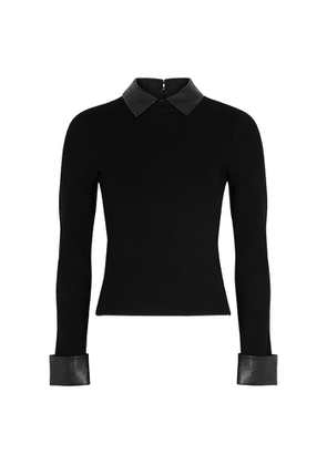Alice + Olivia Dory Faux Leather-trimmed Stretch-knit Jumper