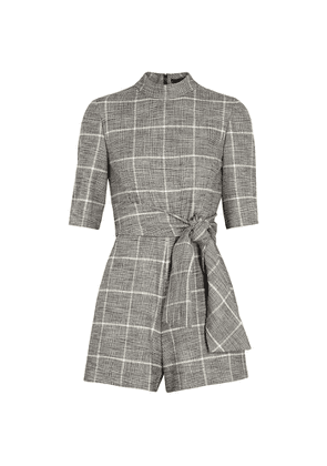 Alice + Olivia Virgil Checked Belted Playsuit