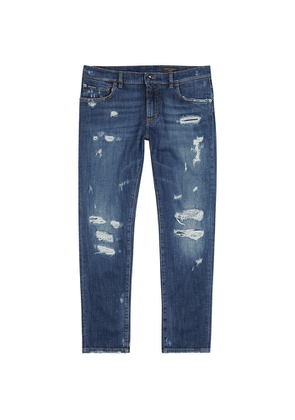 Dolce & Gabbana Dark Blue Distressed Slim-leg Jeans