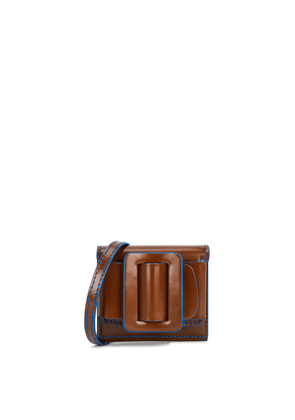 Boyy Buckle Brown Glossed Leather Pouch