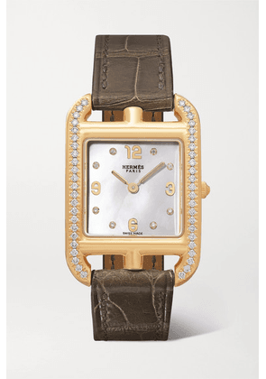 Hermès Timepieces - Cape Cod 23mm Small 18-karat Gold, Alligator, Mother-of-pearl And Diamond Watch