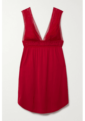 Eberjey - Raquel Stretch-lace And Stretch-modal Jersey Chemise - Red