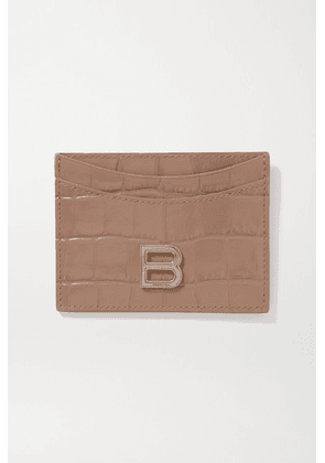 Balenciaga - Hourglass Croc-effect Leather Cardholder - Beige