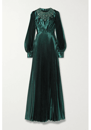 Andrew Gn - Crystal-embellished Pleated Silk-blend Lamé Gown - Dark green