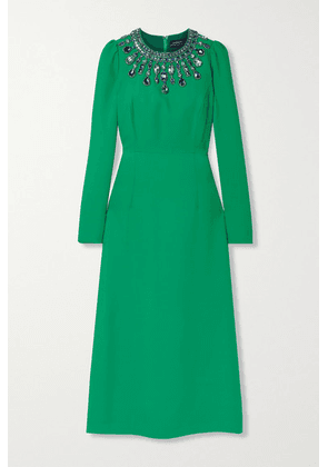 Andrew Gn - Crystal-embellished Crepe Midi Dress - Emerald