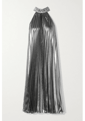 Andrew Gn - Crystal-embellished Pleated Silk-blend Lamé Midi Dress - Silver