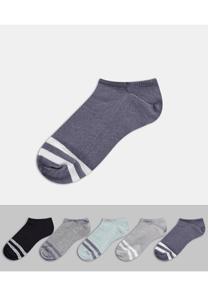 ASOS DESIGN 5 pack trainer socks-Multi