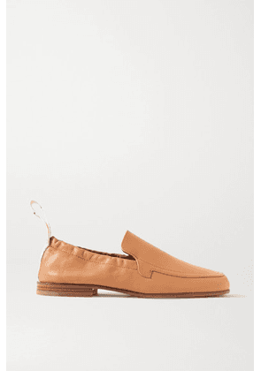 Loewe - Logo-detailed Leather Collapsible-heel Loafers - Sand