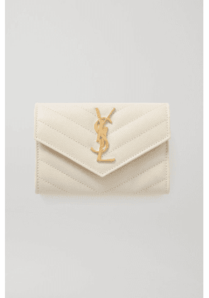 SAINT LAURENT - Quilted Textured-leather Wallet - Off-white