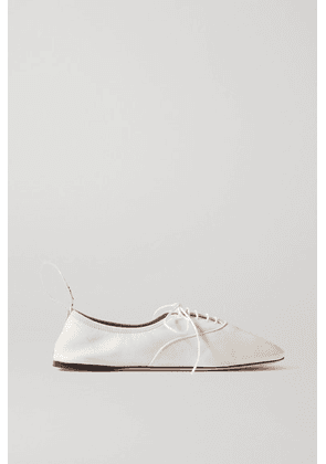 Loewe - Logo-print Lace-up Leather Ballet Flats - White