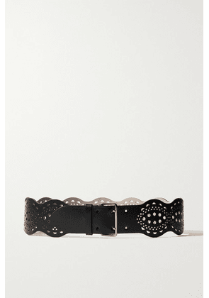 Alaïa - Laser-cut Leather Waist Belt - Black