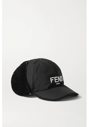 Fendi - Shearling-trimmed Embroidered Shell Baseball Cap - Black