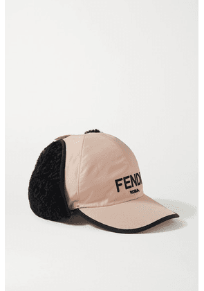 Fendi - Shearling-trimmed Embroidered Shell Baseball Cap - Pink
