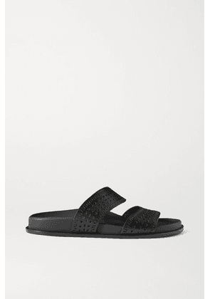Alaïa - Laser-cut Leather Slides - Black
