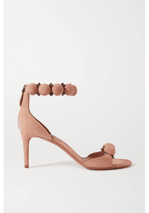 Alaïa - Bombe 75 Studded Suede Sandals - Neutral