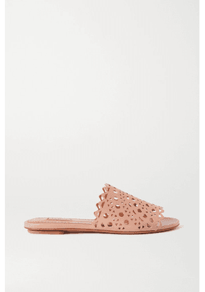Alaïa - Laser-cut Leather Slides - Neutral