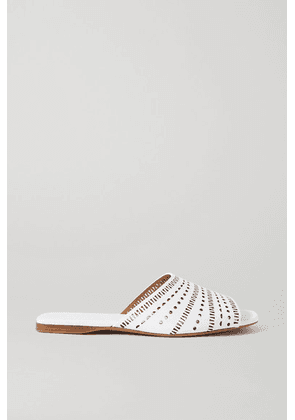 Alaïa - Laser-cut Leather Slides - White