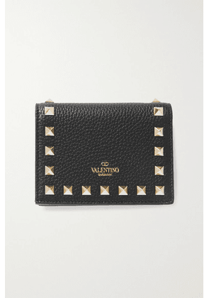 Valentino - Valentino Garavani Rockstud Textured-leather Wallet - Black