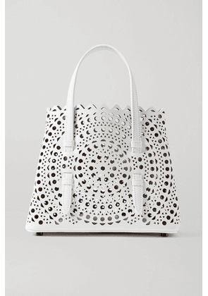 Alaïa - Mina Mini Laser-cut Leather Tote - White