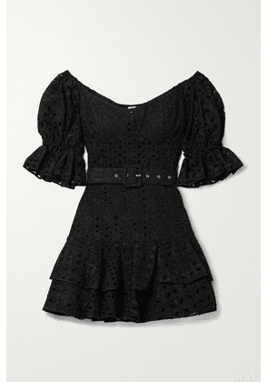 Charo Ruiz - Jean Off-the-shoulder Belted Broderie Anglaise Cotton-blend Mini Dress - Black