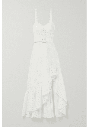 Charo Ruiz - Julie Belted Ruffled Broderie Anglaise Cotton-blend Midi Dress - White