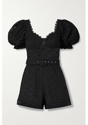 Charo Ruiz - Peggi Belted Broderie Anglaise Cotton-blend Playsuit - Black