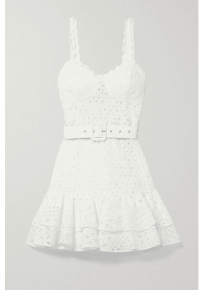 Charo Ruiz - Marianne Belted Ruffled Broderie Anglaise Cotton-blend Mini Dress - White
