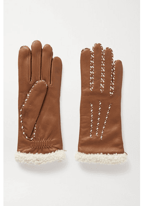 Agnelle - Marie Louise Alpaca-lined Leather Gloves - Tan