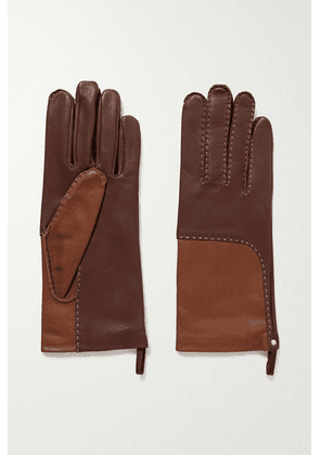 Agnelle - Yaelle Topstitched Two-tone Leather Gloves - Brown
