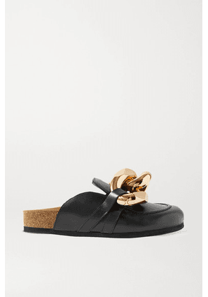 JW Anderson - Chain-embellished Leather Slippers - Black