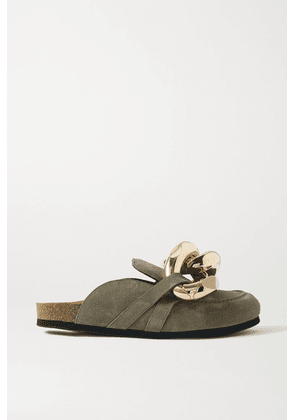 JW Anderson - Chain-embellished Suede Slippers - Army green
