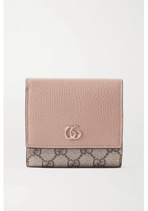 Gucci - + Net Sustain Gg Marmont Petite Medium Textured-leather And Printed Coated-canvas Wallet - Pink