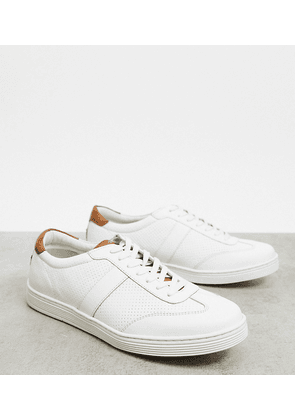 Dune wide fit side stripe trainers in white leather