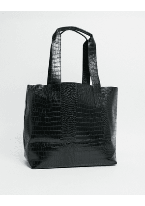 ASOS DESIGN tote bag in black faux croc