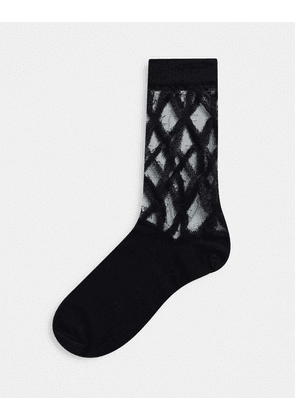 ASOS DESIGN ankle mesh socks in black