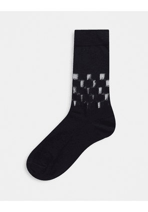 ASOS DESIGN ankle socks with sheer checkerboard details-Black
