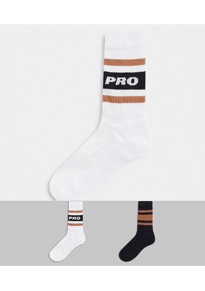 ASOS DESIGN sport socks with pro slogan-Multi