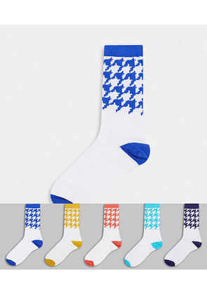 ASOS DESIGN ankle socks with checkerboard design 5 pack-Multi