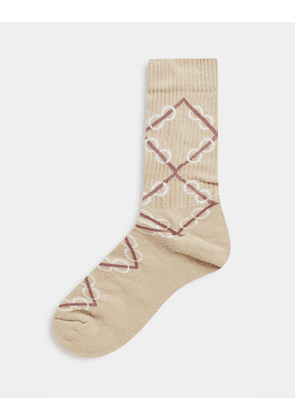 ASOS DESIGN sport socks with neutral monogram design-Brown