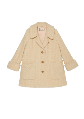 Shearling bouclé coat