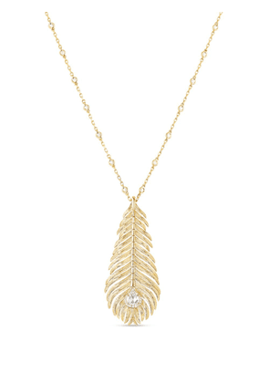 Boucheron 18kt yellow gold diamond Plume de Paon pendant necklace