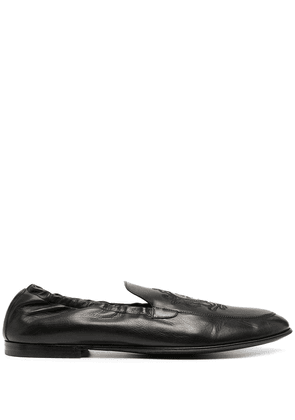Dolce & Gabbana logo-embroidered leather loafers - Black
