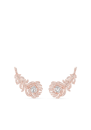 Boucheron 18kt rose gold diamond Plume de Paon clip earrings - Pink